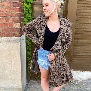 Fever Cheetah Print Long Cardigan